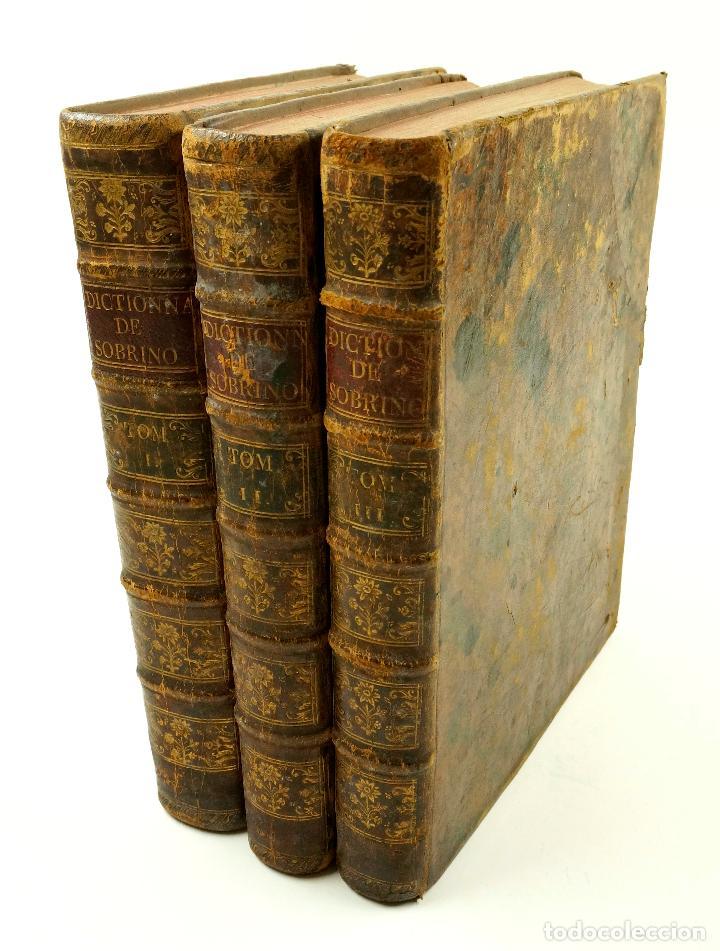 NOUVEAU DICTIONNAIRE DE SOBRINO, 1789, FRANÇOIS, ESPAGNOL ET LATIN, 3. VOL, FRANÇOIS CORMON. 21X26CM (Libros Antiguos, Raros y Curiosos - Diccionarios)