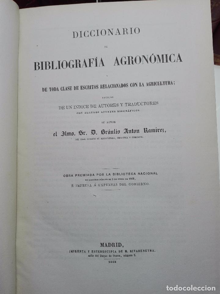 Diccionarios antiguos: DICCIONARIO DE BIBLIOGRAFÍA AGRONÓMICA Y DE TODA CLASE DE ESCRITOS RELACIONADOS CON LA AGRICULTURA - - Foto 3 - 104595339
