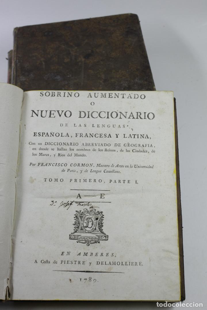 Diccionarios antiguos: Nuevo diccionario de las lenguas española, francesa y latina, 1789, F. Cormon, 3 vol,Amberes.20x25cm - Foto 2 - 110627519