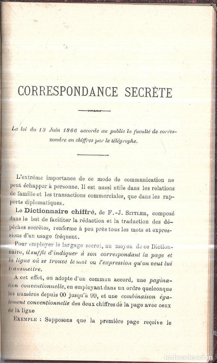 Diccionarios antiguos: DICTIONNAIRE ABRÉVIATIF. CHIFFRÉ PAR F. J. SITTLER. 15 ÉDITION. PARIS, 1895.CORRESPONDANCE SECRETE. - Foto 3 - 114245519