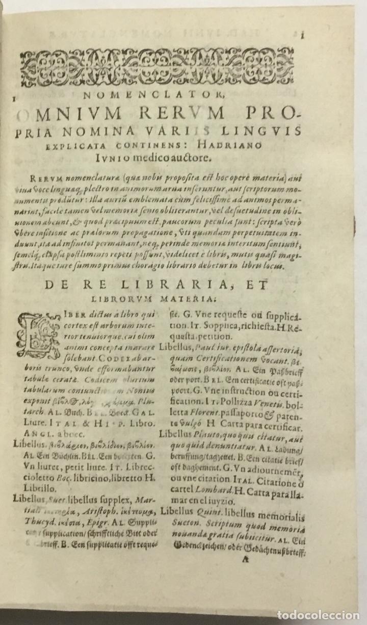 Diccionarios antiguos: NOMENCLATOR, OMNIUM RERUM PROPRIA NOMINA SEPTEM DIVERSIS LINGUIS EXPLICATA INDICANS; munto quàm ante - Foto 2 - 114154780