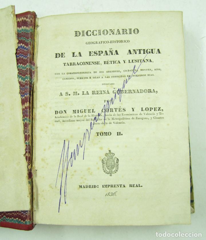 Diccionarios antiguos: Diccionario geográfico-histórico de la España antigua, 1835, 2 vol, M. Cortés, Madrid. 16x21,5cm - Foto 3 - 118241583