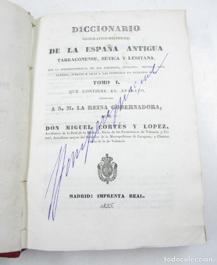 Diccionarios antiguos: Diccionario geográfico-histórico de la España antigua, 1835, 2 vol, M. Cortés, Madrid. 16x21,5cm - Foto 8 - 118241583