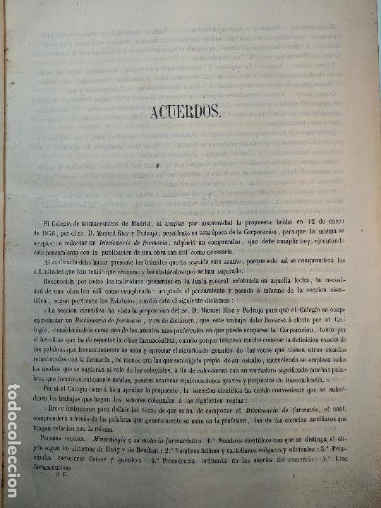Diccionarios antiguos: DICCIONARIO DE FARMACIA DEL COLEGIO DE FARMACEUTICOS DE MADRID - VV. AA. - 2 TOMOS - MADRID - 1865 - - Foto 4 - 124012415