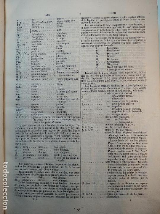 Diccionarios antiguos: DICCIONARIO DE FARMACIA DEL COLEGIO DE FARMACEUTICOS DE MADRID - VV. AA. - 2 TOMOS - MADRID - 1865 - - Foto 5 - 124012415