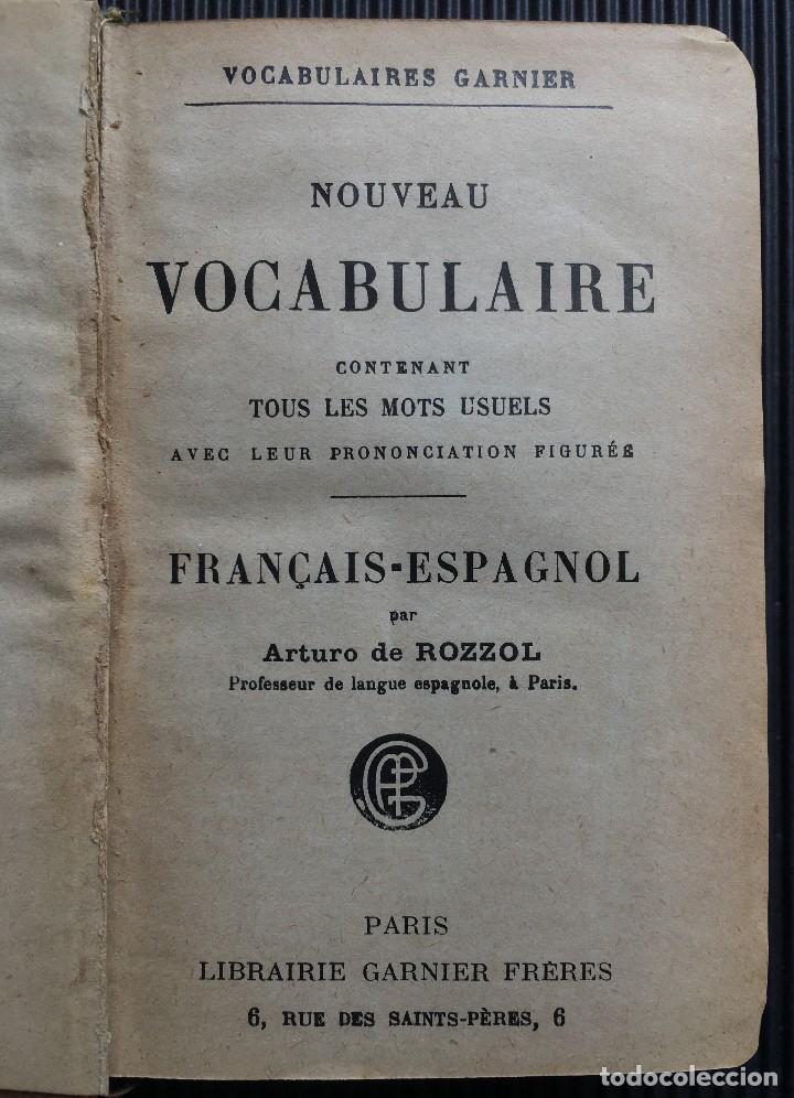 Diccionarios antiguos: NOUVEAU VOCABULAIRE FRANÇAIS-ESPAGNOL, ESPAGNOL-FRANÇAIS, POR ARTURO DE ROZZOL, 1809 - Foto 2 - 124819903