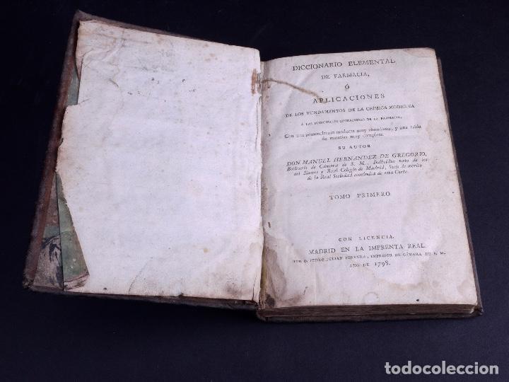 Diccionarios antiguos: DICCIONARIO ELEMENTAL DE FARMACIA 1798 - Foto 3 - 125094307