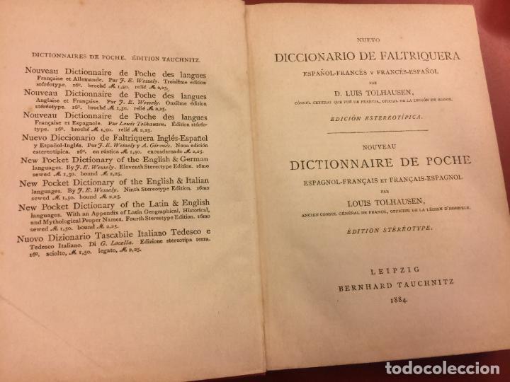 Diccionarios antiguos: DICTIONNAIRE DES LANGUES FRANÇAISE & ESPAGNOLE - EDITION TAUCHNITZ - año 1884 - 206pgs - Foto 2 - 126271943