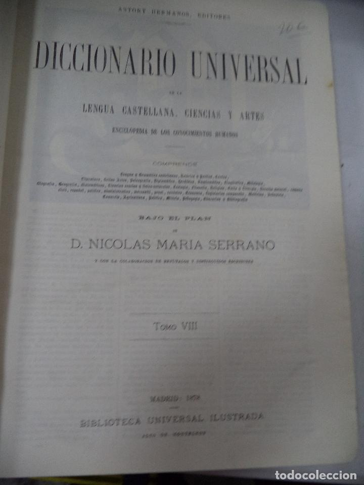 Diccionarios antiguos: DICCIONARIO UNIVERSAL. DON NICOLÁS MARÍA SERRANO. ASTORT HERMANOS, EDITORES. TOMO VIII, M-ÑUD. 1878 - Foto 2 - 127107923