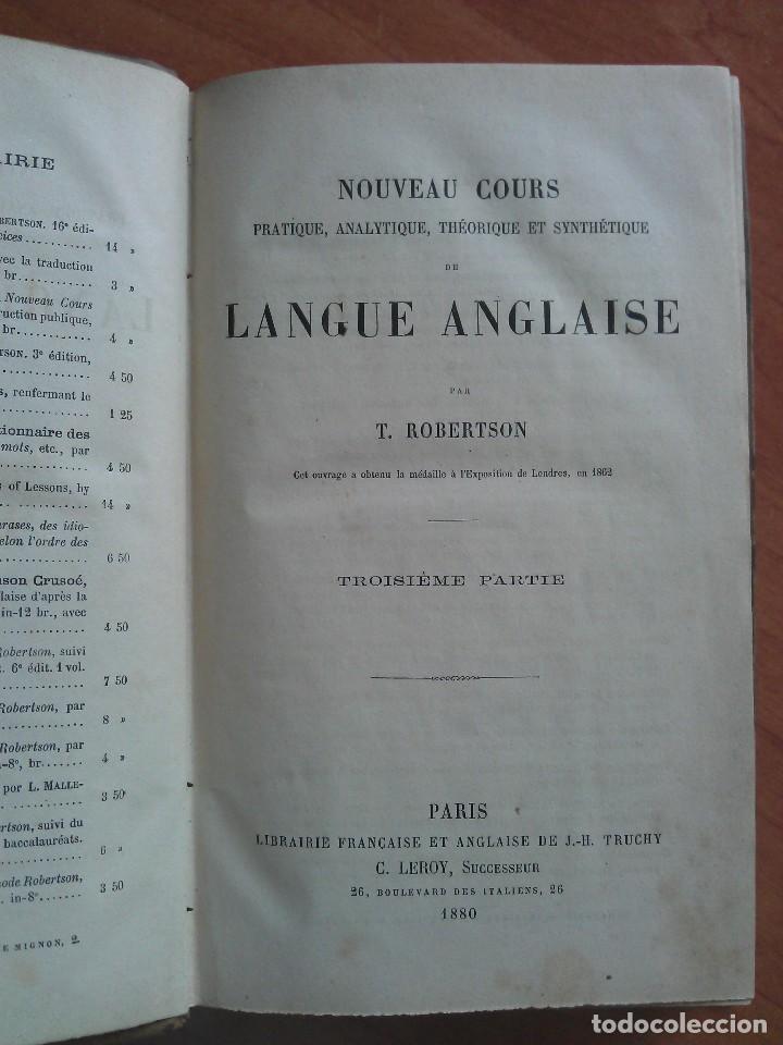 Diccionarios antiguos: 1880 NOUEVAU COURS DE LANGUE ANGLIASE - TOMO 3º - Foto 2 - 238368070