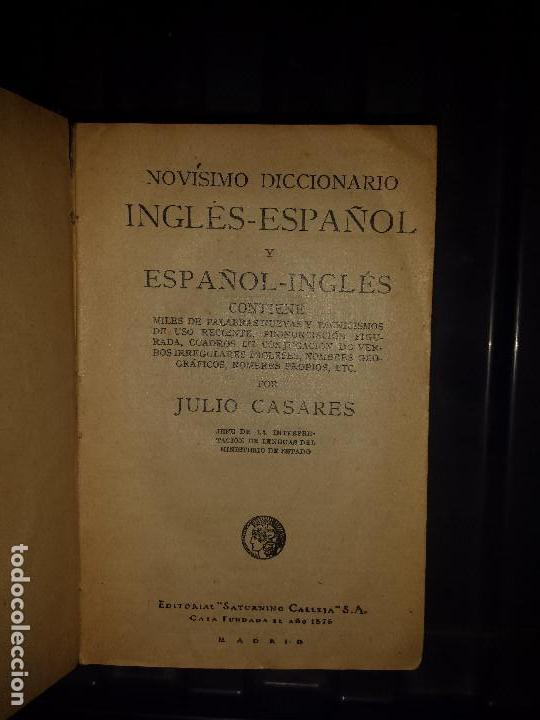Diccionarios antiguos: Diccionario Ingles Español , Editorial Calleja 1925 - Foto 4 - 129380491