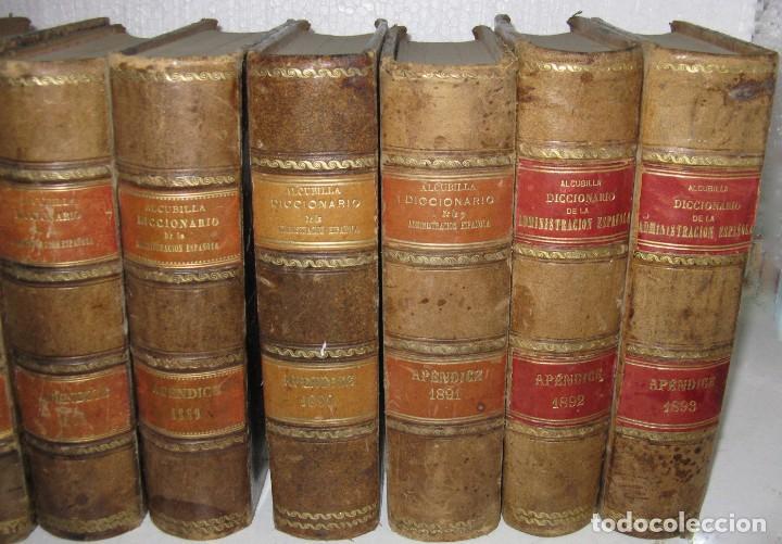 Diccionarios antiguos: DICCIONARIO DE LA ADMINISTRACIÓN ESPAÑOLA. 14 VOLUM. ALCUBILLA FINALES XIX - Foto 2 - 129484595