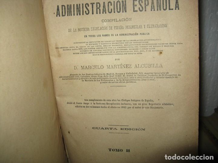 Diccionarios antiguos: DICCIONARIO DE LA ADMINISTRACIÓN ESPAÑOLA. 14 VOLUM. ALCUBILLA FINALES XIX - Foto 4 - 129484595