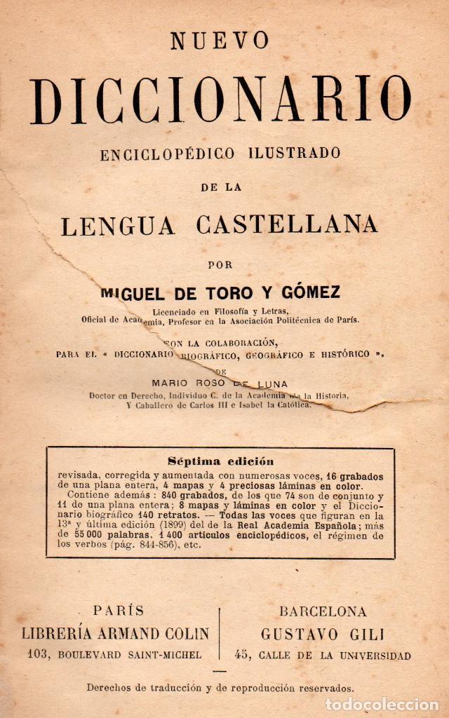 Diccionarios antiguos: Libro antiguo de 1899, Nuevo Diccionario Enciclopédico ilustrado de la Lengua Castellana, M.T.G. - Foto 5 - 140216650