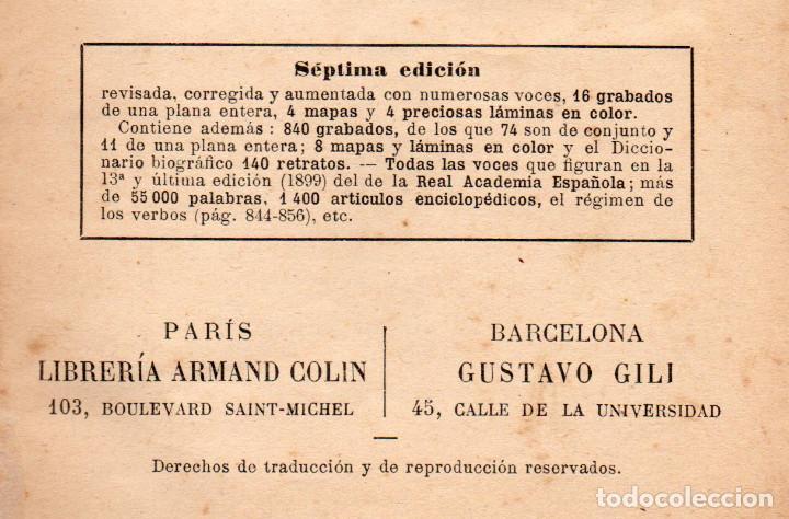 Diccionarios antiguos: Libro antiguo de 1899, Nuevo Diccionario Enciclopédico ilustrado de la Lengua Castellana, M.T.G. - Foto 6 - 140216650