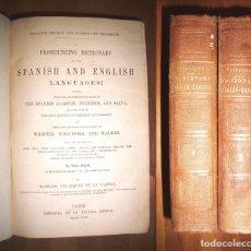 Diccionarios antiguos: VELÁZQUEZ DE LA CADENA, MARIANO. A PRONOUNCING DICTIONARY OF THE SPANISH AND ENGLISH ; DICCIONARIO D. Lote 143748342