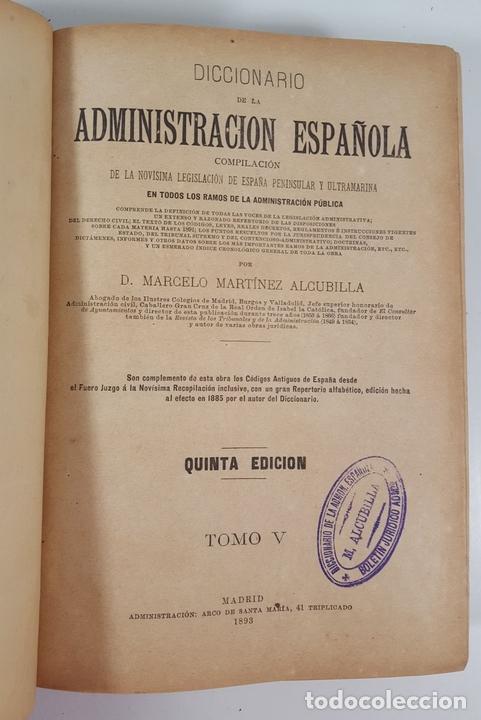 Diccionarios antiguos: DICCIONARIO DE ADMINISTRACIÓN. 6 TOMOS. MARCELO MARTÍNEZ ALCUBILLAS. MADRID. 1892/ 1894. - Foto 15 - 145499218