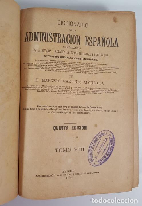 Diccionarios antiguos: DICCIONARIO DE ADMINISTRACIÓN. 6 TOMOS. MARCELO MARTÍNEZ ALCUBILLAS. MADRID. 1892/ 1894. - Foto 18 - 145499218