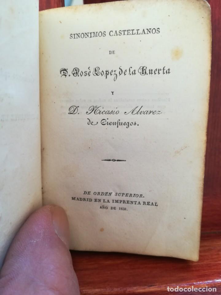 Diccionarios antiguos: SINONIMOS CASTELLANOS-SINONIMOS Y TRATADO DEL ARTICULO-J.L.DE LA HUERTA--1ª EDIC1830- REAL-10X7 - Foto 6 - 146515598