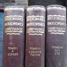 Diccionarios antiguos: BONITO DICCIONARIO ENCICLOPÉDICO ABREVIADO. ESPASA CALPE, 3 TOMOS,1933. Lote 147602554