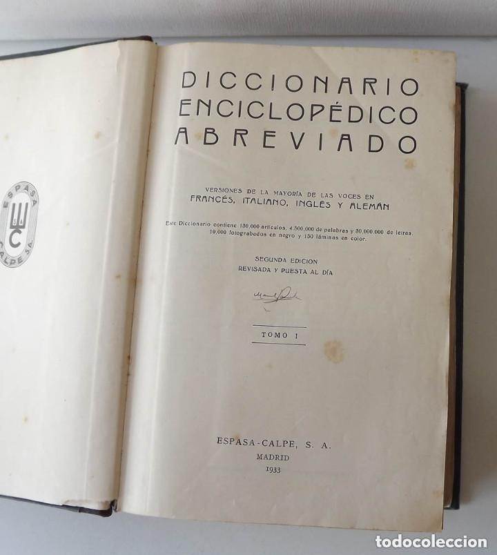 Diccionarios antiguos: Diccionario Enciclopédico Abreviado, Espasa-Calpe, 3 tomos, edición de 1933 - Foto 4 - 197765941