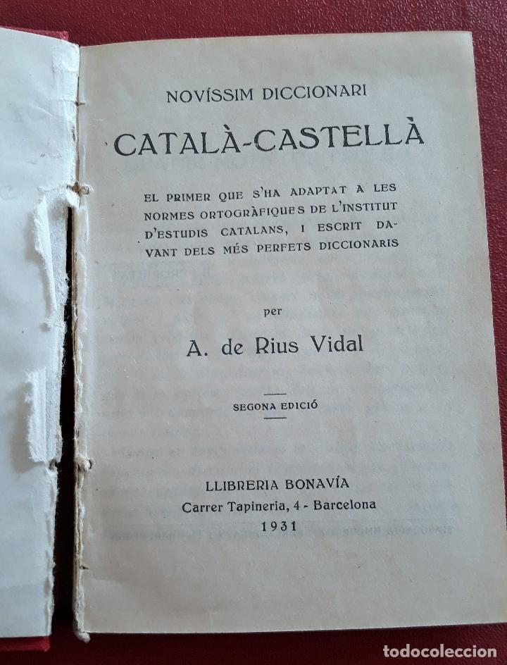 Diccionarios antiguos: PEQUEÑO DICCIONARIO CATALA CASTELLA, CASTELLA CATALA. A DE RIUS VIDAL 1931 - Foto 2 - 147975386