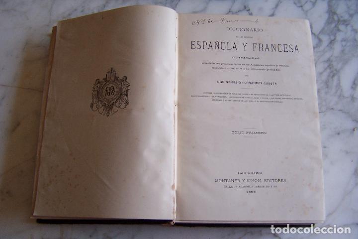 Diccionarios antiguos: DICCIONARIO DE LAS LENGUAS ESPAÑOLA Y FRANCESA. TOMOS I Y II. MONTANER Y SIMÓN, 1885- 86. - Foto 3 - 151376302