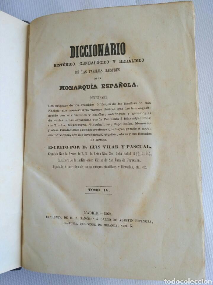 Diccionarios antiguos: Diccionario Histórico Genealógico y Heráldico, D. Luis Vilar y Pascual, 1860 -66. Genealogía. - Foto 76 - 151860282