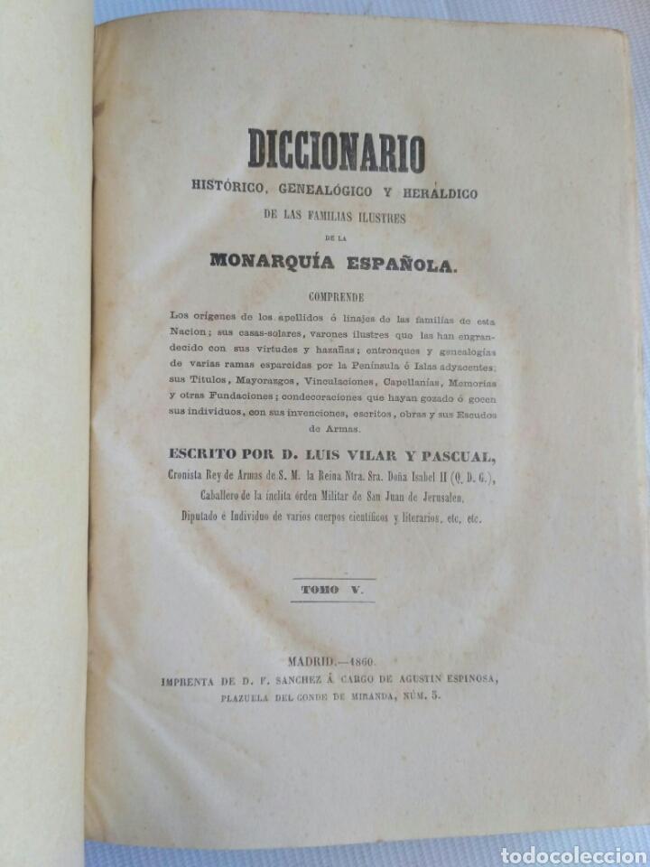 Diccionarios antiguos: Diccionario Histórico Genealógico y Heráldico, D. Luis Vilar y Pascual, 1860 -66. Genealogía. - Foto 130 - 151860282