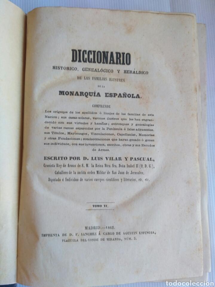 Diccionarios antiguos: Diccionario Histórico Genealógico y Heráldico, D. Luis Vilar y Pascual, 1860 -66. Genealogía. - Foto 219 - 151860282