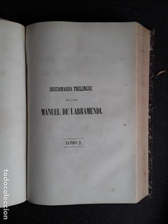 Diccionarios antiguos: Larramendi. Diccionario trilingüe Castellano, vascuence y Latin. Euskera. Lengua Vasca. - Foto 2 - 151941238