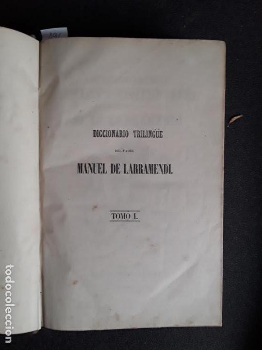 Diccionarios antiguos: Larramendi. Diccionario trilingüe Castellano, vascuence y Latin. Euskera. Lengua Vasca. - Foto 4 - 151941238