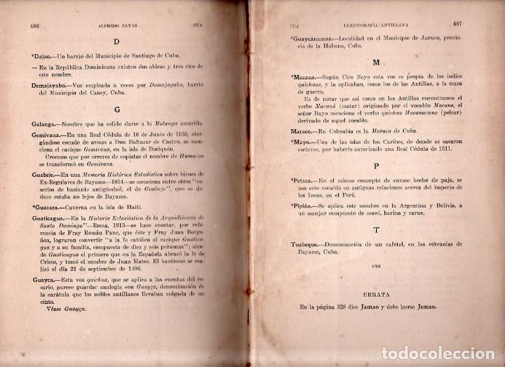 Diccionarios antiguos: LEXICOGRAFIA ANTILLANA. ALFREDO ZAYAS Y ALFONSO. HABANA, SIGLO XX. 1914. - Foto 9 - 159470850