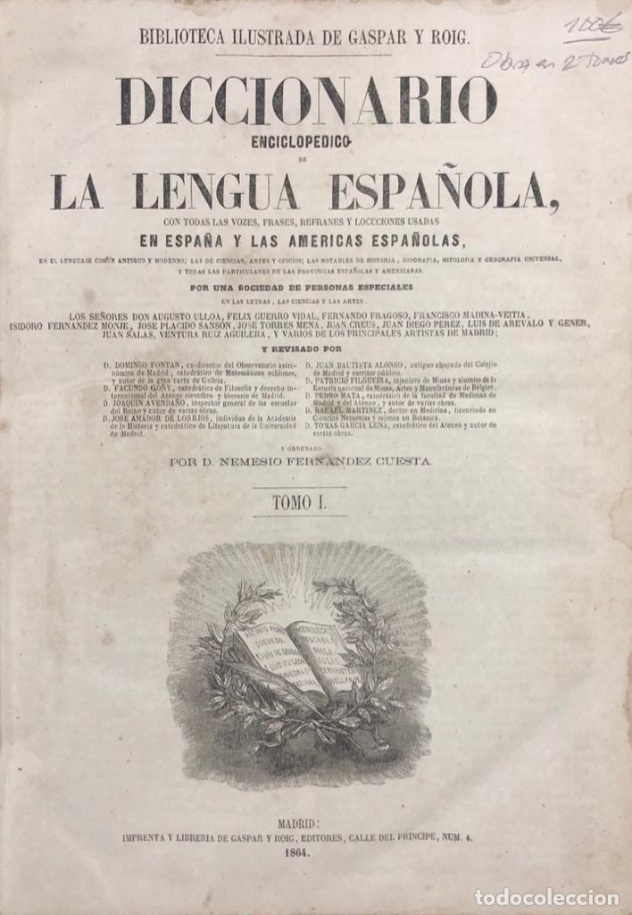 Diccionarios antiguos: DICCIONARIO ENCICLOPEDICO DE LA LENGUA ESPAÑOLA. POR NEMESIO FERNANDEZ. TOMOS I Y II. MADRID, 1864. - Foto 2 - 159950226