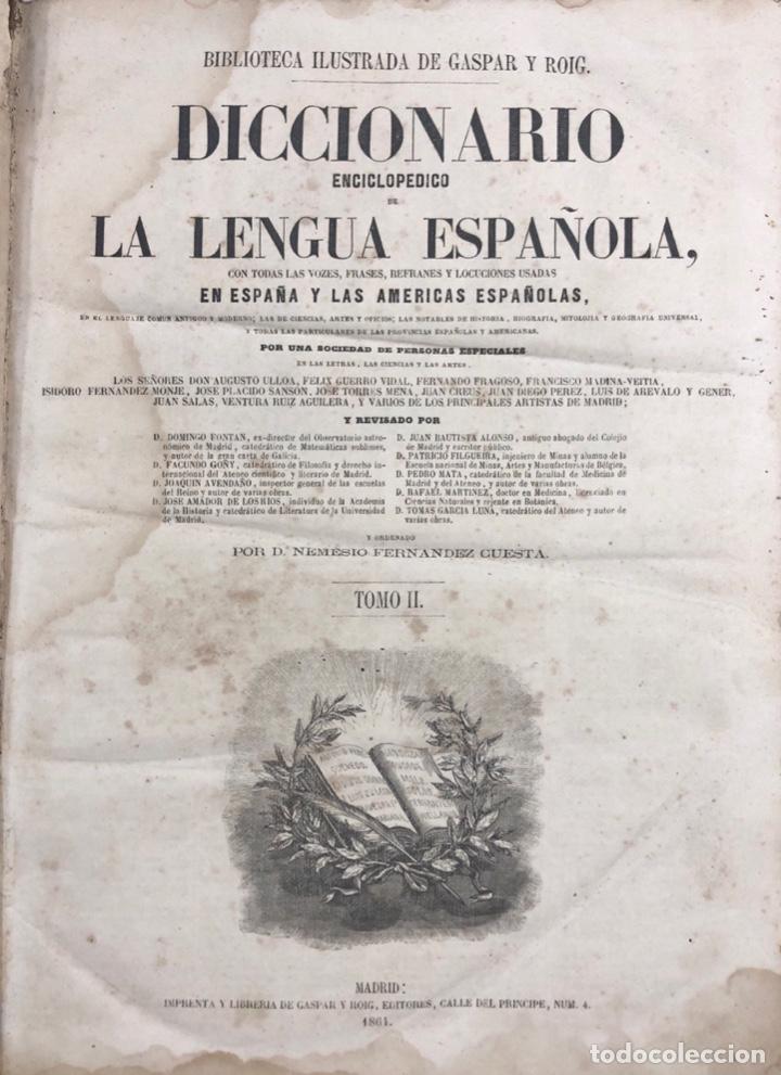 Diccionarios antiguos: DICCIONARIO ENCICLOPEDICO DE LA LENGUA ESPAÑOLA. POR NEMESIO FERNANDEZ. TOMOS I Y II. MADRID, 1864. - Foto 12 - 159950226