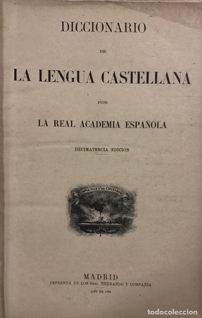 DICCIONARIO DE LA LENGUA CASTELLANA. REAL ACADEMICA ESPAÑOLA. MADRID, 1899. PAGS 1043. (Libros Antiguos, Raros y Curiosos - Diccionarios)