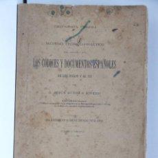 Diccionarios antiguos: MÉTODO TEÓRICO-PRÁCTICO PARA LOS CÓDICES Y DOCUMENTOS ESPAÑOLES DE LOS SIGLOS V AL XII JESÚS MUÑOZ. Lote 166183374