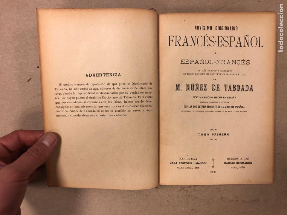 Diccionarios antiguos: NOVISIMO DICCIONARIO FRANCÉS - ESPAÑOL y ESPAÑOL- FRANCÉS. 2 TOMOS. NUÑEZ DE TABOADA. 1909. - Foto 4 - 168208244
