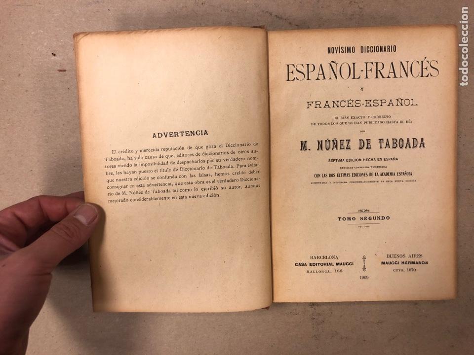 Diccionarios antiguos: NOVISIMO DICCIONARIO FRANCÉS - ESPAÑOL y ESPAÑOL- FRANCÉS. 2 TOMOS. NUÑEZ DE TABOADA. 1909. - Foto 12 - 168208244