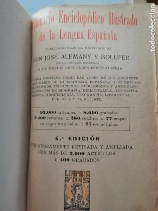 Diccionarios antiguos: DICCIONARIO ENCICLOPÉDICO ILUSTRADO DE LA LENGUA ESPAÑOLA - POR DON JOSE ALEMANY Y BOLUFER.1934 - Foto 9 - 169112440