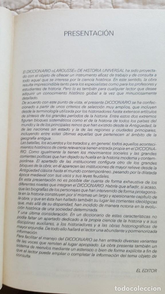 Diccionarios antiguos: DICCIONARIO LAROUSSE DE HISTORIA UNIVERSAL - Foto 3 - 169885164