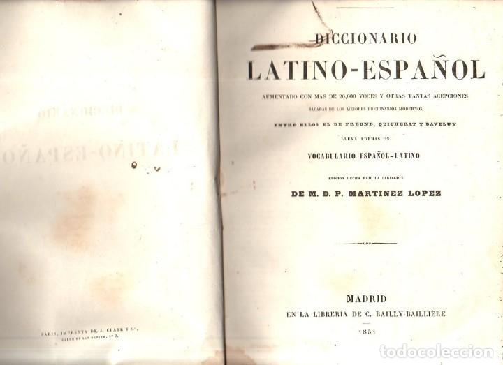 Diccionarios antiguos: DICCIONARIO LATINO- ESPAÑOL. VALBUENA REFORMADO. C. BAILLY- BAILLLIERE. 1851. - Foto 4 - 174061274