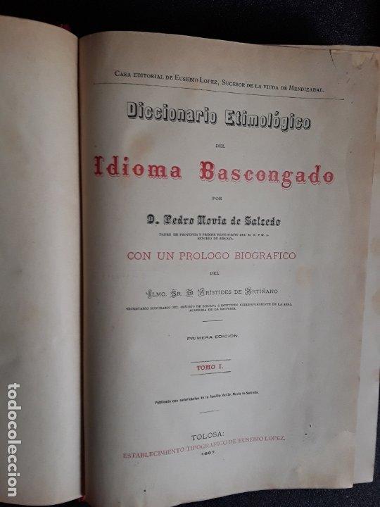 Diccionarios antiguos: Diccionario Etimológico del Idioma Vascongado. Euskera. Lengua Vasca. - Foto 3 - 177693782