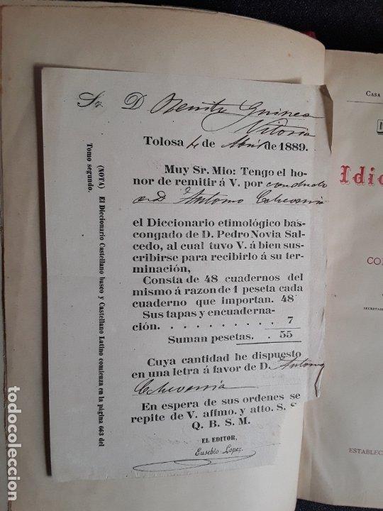 Diccionarios antiguos: Diccionario Etimológico del Idioma Vascongado. Euskera. Lengua Vasca. - Foto 6 - 177693782