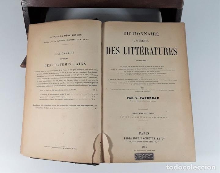 Diccionarios antiguos: DICTIONNAIRE UNIVERSEL DES LITTÉRATURES. G. VAPEREAU. LIBR. HACHETTE ET CIE. PARÍS. 1884. - Foto 4 - 179308711