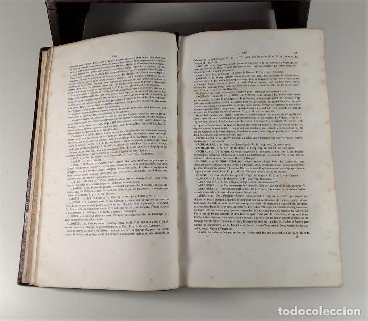 Diccionarios antiguos: DICTIONNAIRE DE MARINE A VOILES ET A VAPEUR. BARON DE BONNEFOUX ET PARIS. EDIT. A. BERTRAND. - Foto 5 - 180919336