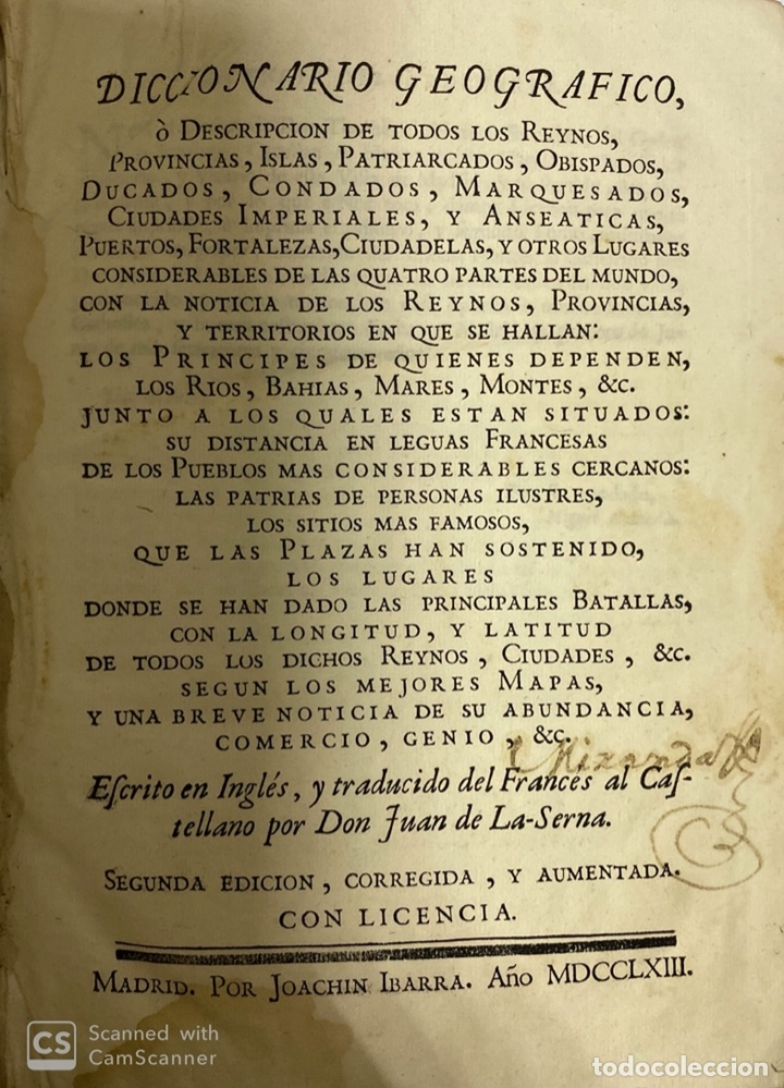 Diccionarios antiguos: DICCIONARIO GEOGRAFICO. COMPLETO.2ª EDICION. 3 TOMOS EN UNO. POR JOACHIN IBARRA. MADRID, 1763. LEER - Foto 5 - 180919826