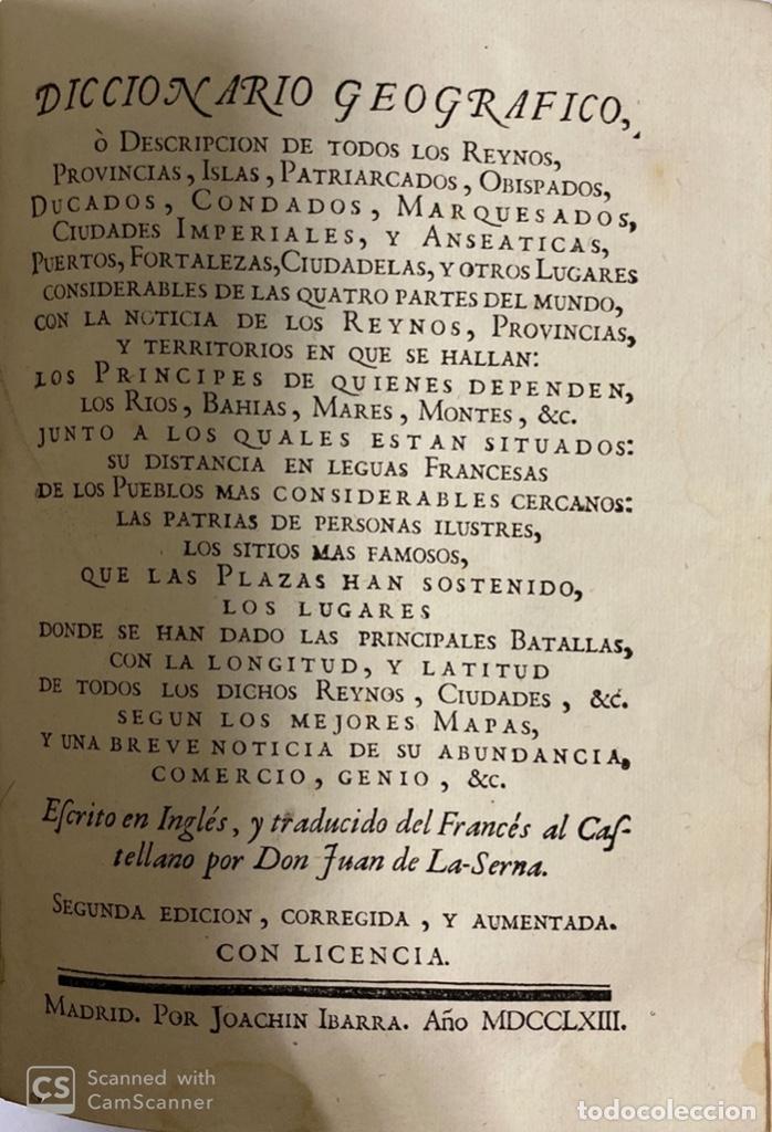 Diccionarios antiguos: DICCIONARIO GEOGRAFICO. COMPLETO.2ª EDICION. 3 TOMOS EN UNO. POR JOACHIN IBARRA. MADRID, 1763. LEER - Foto 10 - 180919826