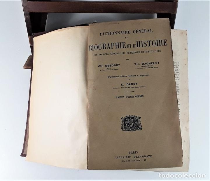 Diccionarios antiguos: DICTIONNAIRE GÉNÉRAL DE BIOGRAPHIE ET DHISTOIRE. 2 TOMOS. VV. AA. LIBR. DELAGRAVE. SIGLO XIX?. - Foto 4 - 180992183