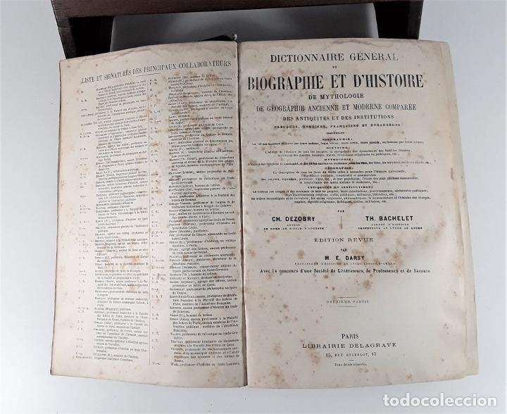 Diccionarios antiguos: DICTIONNAIRE GÉNÉRAL DE BIOGRAPHIE ET DHISTOIRE. 2 TOMOS. VV. AA. LIBR. DELAGRAVE. SIGLO XIX?. - Foto 9 - 180992183